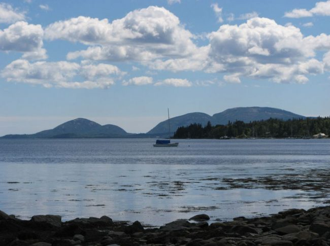 View of Mount Desert Island from Log Cabin by the Sea, Frenchman Bay, Acadia National Park