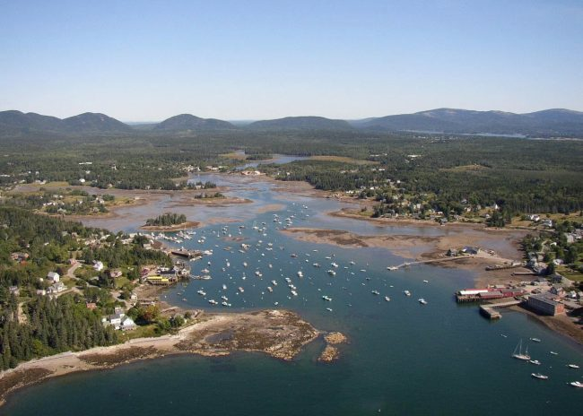 Bass Harbor, aerial view, ocean, mountains, trees