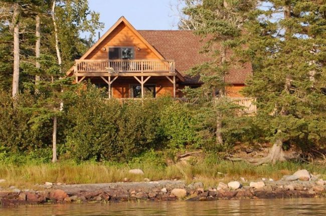 Beautiful Lodge on Carrying Place Cove, Harrington Bay, Maine Vacation Home Rental, log home, front from the water