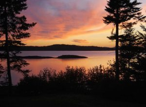 Beautiful Lodge on Carrying Place Cove, Harrington Bay, Maine Vacation Home Rental, log home, sunset by Ken Stone