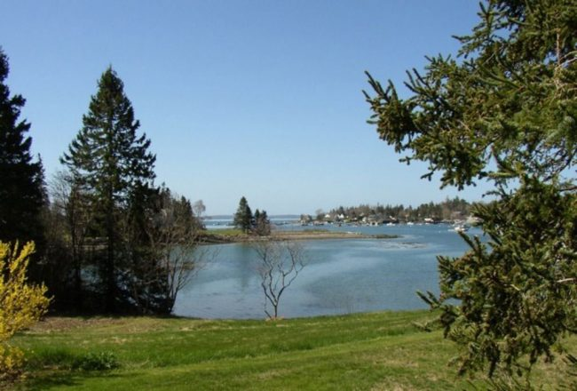 View from Carriage House, Bass Harbor Cottages and Country Inn, oceanfront, trees, vacation rental