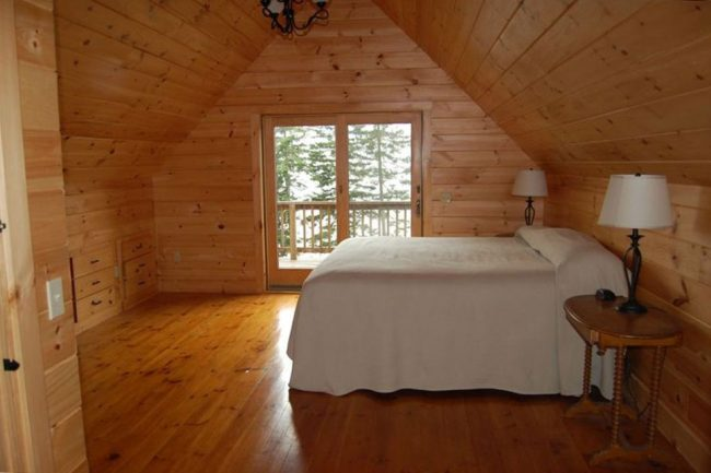 Beautiful Lodge on Carrying Place Cove, Harrington Bay, Maine Vacation Home Rental, log home, bedroom