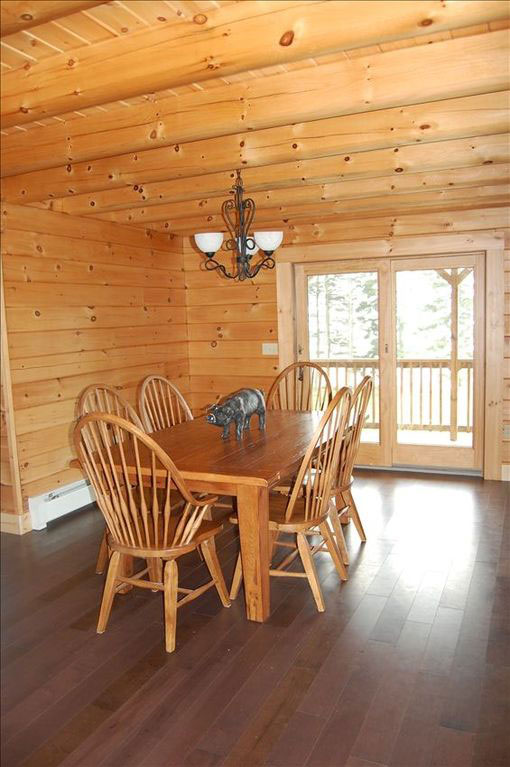 Beautiful Lodge on Carrying Place Cove, Harrington Bay, Maine Vacation Home Rental, log home, dining area