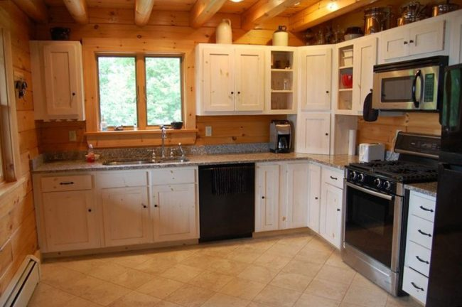 Beautiful Lodge on Carrying Place Cove, Harrington Bay, Maine Vacation Home Rental, log home, kitchen