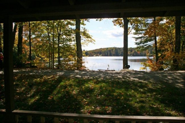 Lawn and lake from porch