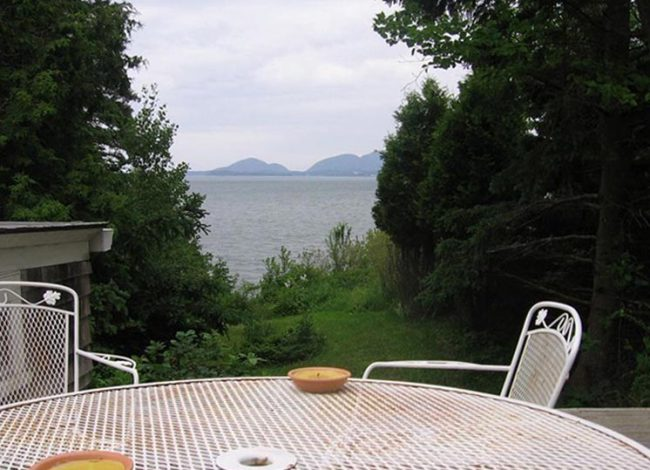Patio and view of Mount Desert Island